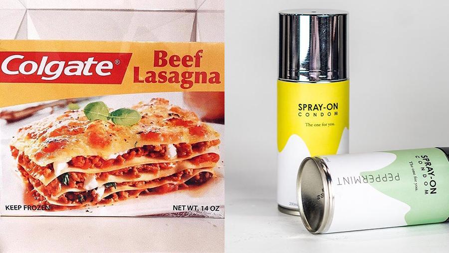 Produkte, die niemand haben will: Lasagne von Zahnpasta-Experten und ein Spray-Kondom.