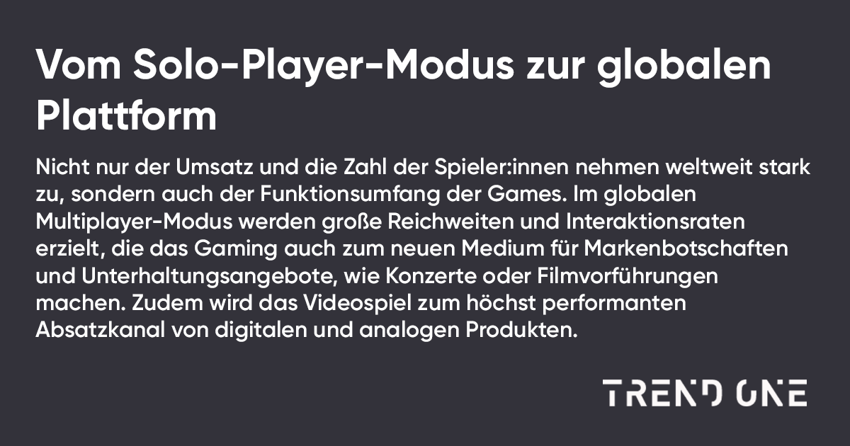 Macro-Trend 'Gaming Universe' von TRENDONE