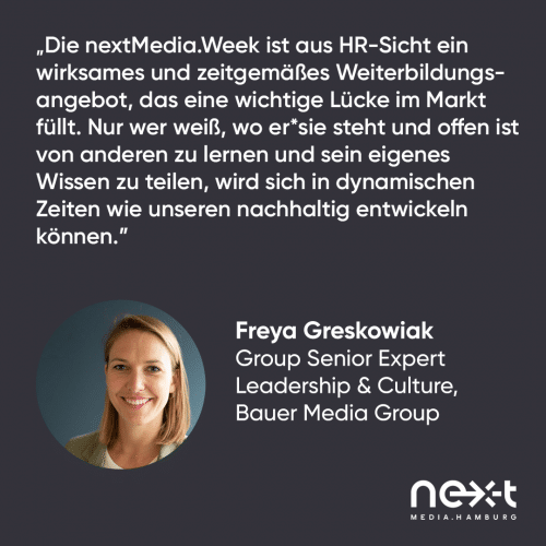 Statement von Freya Greskowiak von der Bauer Media Group zur nextMedia.Week