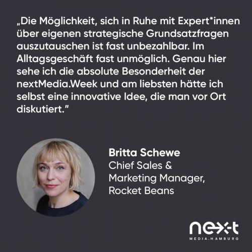 Statement von Britta Schewe, Rocket Beans Entertainment, zur nextMedia.Week
