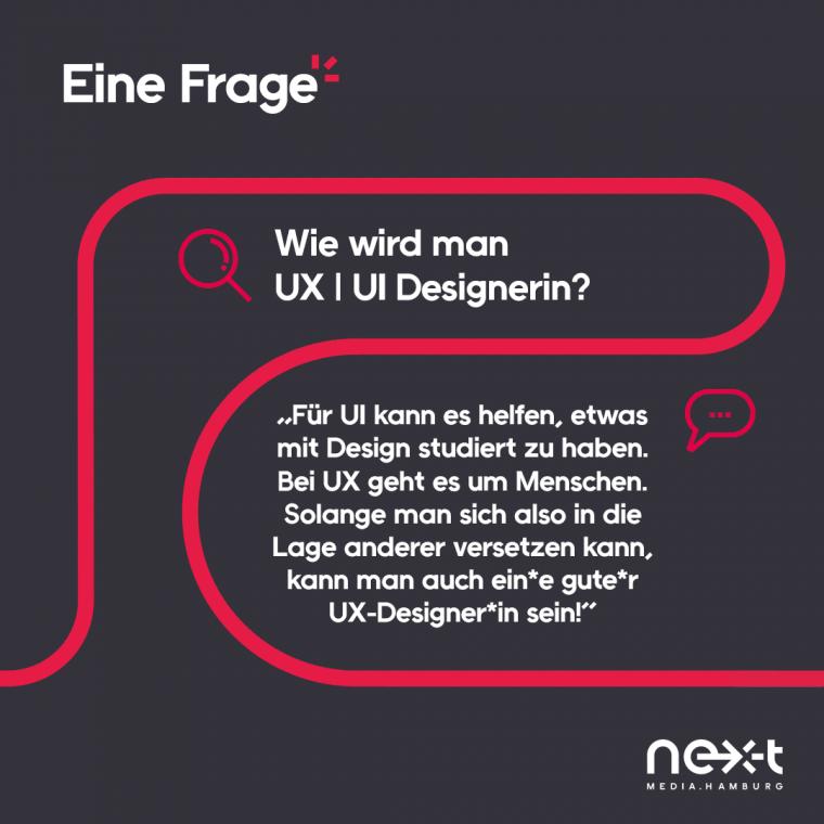 """Wie wird man UX/UI-Designerin? """"Für UI kann es helfen, etwas mit Design studiert zu haben. Bei UX geht es um Menschen. Solange man sich also in die Lage anderer versetzen kann, kann man auch ein*e gute*r UX-Designer*in sein!"""""""