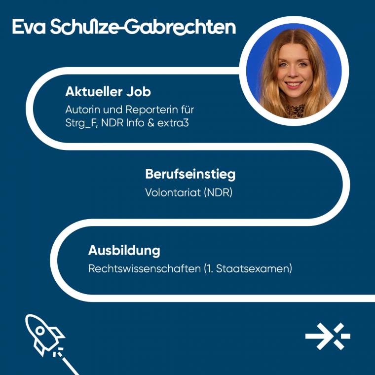 Eva Schulze-Gabrechten ist Autorin und Reporterin für Strg_F, NDR Info & extra3.